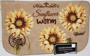 "PRINTED NYLON KITCHEN RUG (nonskid) (18""x30"") 3 SUNFLOWERS, SUNFLOWER WARM, ZK"