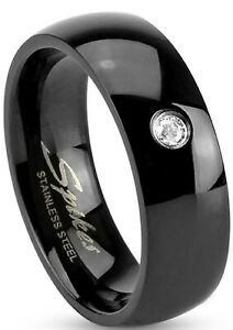 New Black IP Stainless Steel Cubic Zirconia Wedding Band Ring Sizes 5 -14