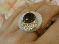 Diamond, Mother of Pearl & Citrine Ring in 18k Yellow Gold - HM1566
