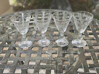 Vintage Set of 4 Elegant Etched Glass Rambling Rose Wine Glasses