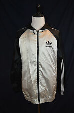 VTG ADIDAS BLACK SILVER JACKET XL TREFOIL RUN DMC Metallic raiders HOODIE