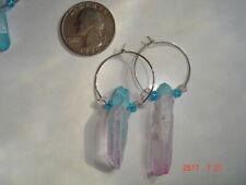 Unique Handmade Blue/Pink Titanium Coated Crystal Quartz Earrings