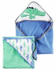 New Carter's Hooded Bath Towel Alligator Terry Material NWT 2 Pack Towels