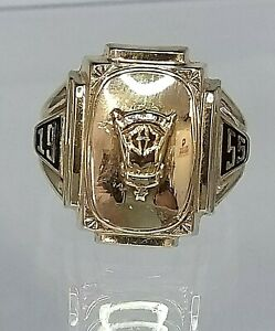Peekskill 1955 High School Class Ring - 10k Gold    RARE COLLECTABLE size 9 U.S