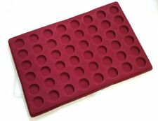 Red Coin Tray for 48 Coins in Capsules with Transparent Cover Space 27mm /PO48