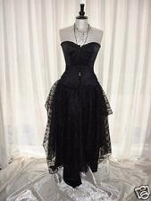skirt long 22 black satin steampunk goth prom burlesque pixie gypsy maxi  M L XL