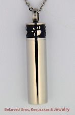 Black and Silver Paw Print Cylinder Cremation Jewelry Urn Chain - Dog, Cat, Pets
