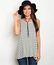 New Fashion Women Sleevless Shirt Casual Stripe Blouse Loose Cotton Tops T Shirt