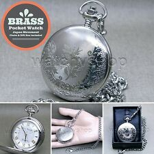 BRAND NEW Silver 47 MM Pocket Watch Brass Case Quartz Men Style + Fob Chain P254