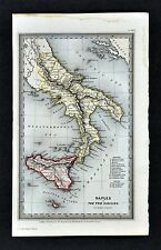 1834 Starling Miniature Map - South Italy - Naples Sicily Messina Capri Couza