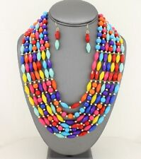 Seven Layers Multi Color Faceted Lucite Bead Gold Tone Bead Necklace Earring Set