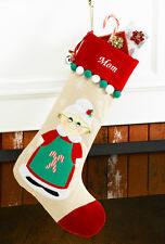 Mrs. Clause Personalized Christmas Stocking made of Tan Corduroy and Red Velvet