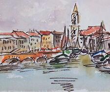 Delizioso acquerello dipinto fiume vista con porto di Karl Bopp, Francoforte