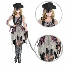 Adult Ladies Sexy Haunted Zombie Pirate Wench Girl Halloween Costume with Hat