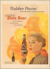 1954-Vintage ad for Blatz Beer`Bottle, Sexy Model (041215)