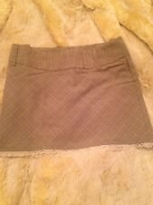 Grey Plaid Mini Skirt Light Beige with White/Ivory Lace Trim Size 3 Odds n Evens