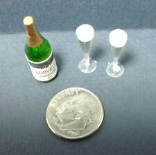 Dollhouse Miniature Champagne Bottle with 2 Filled Flutes Hudson River 1:12