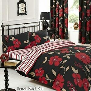 Kenzie Black/Red Duvet Cover Set With Pillowcase Single Size