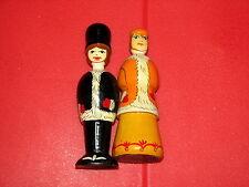 "Russian Handpainted Wooden Dolls Winter Man Woman Couple 4"" 4.5"""