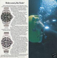 """Rolex und """"Die Tiefe"""" -Faltblatt für Rolex Submariner & Sea  Dweller 1970er Jah."""