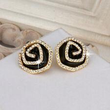 Wholesale 18k Gold Filled Clear Zirconia Crystal Black Oil Drip Flower Stud Ear