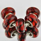 5pcs red murano glass beads lampwork charms beads fit European Charm Bracelet