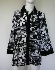 Catherine Louis Ladies Shirt Size XL Blouse Button Down Collar Black & White