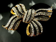 SIGNED SWAROVSKI CRYSTAL BOW PIN ~ BROOCH NEW RETIRED RARE  COLLECTORS PIECE