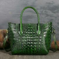 Chic Women's Genuine Leather Crocodile Grain Handbag Crossbody Shoulder Tote Bag