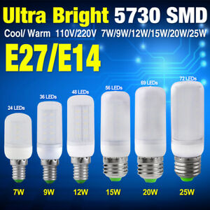 5730 Chip LED Corn Bulb Cool/Warm Milky White E14/E27 Base Lamp 7/9/12/15/20/25W