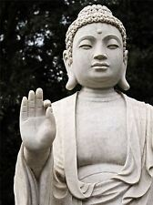 BUDDHA STATUE WHITE STONE MEDITATION PHOTO ART PRINT POSTER PICTURE BMP569A