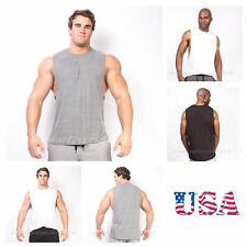 Men Bodybuilding Vest Tank Top Muscle T-Shirt Gym Fitness Football Made in Usa