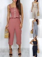 Women Ladies Summer Pleated Ruffle Cami Top Trouser Co-ords Suit 2 Pieces Set