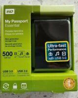 WD My Passport Essential 500GB Portable Hard Drive USB 3.0 + USB 2.0
