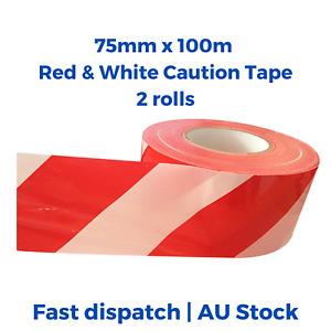 2pcs 75mmx100m Red/White Stripe Barricade Barrier Tape caution Safety Hazard Tap