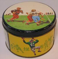 Vintage 1950s COLORFUL TIN LITHO FOOTBALL GRAPHIC TIN E CHERRY SONS PHILADELPHIA