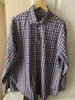 Peter Millar Summer Comfort Mens XL Button Down Shirt Plaid Multi Colored Plaid