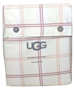 UGG Windowpane Plaid King 4 Piece Sheet Set White Pink & Rose Superior Soft