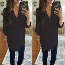 Women Casual Ultra Soft Chiffon Long Sleeve V Neck Shirt Blouse Plus Size Tops