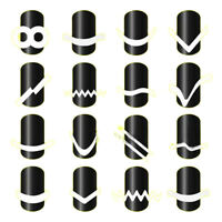 New 16 Sheets DIY French Nail Art Tips Tape Guide Stencil Manicure Form Stickers