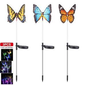 3pcs Solar Power Butterfly Stake LED Lights Garden Yard Path Lamp Decor UK