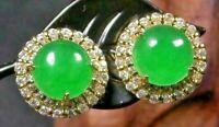 Yellow Gold Plate Green JADE Earring Earrings Cabochon Diamond Imitation 100438