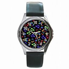 Music Notes Musician Band Singer Colorful Leather Watch New!
