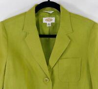 Talbots Women's Green Size 8 Irish Linen 3 Button Career Blazer Jacket