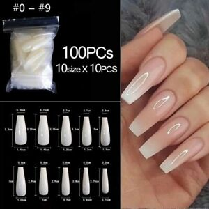 500/100pcs False Coffin Nails Ballerina Fake Nails Flat Shape Nail Art Tips Gift