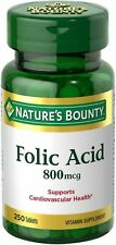 Nature's Bounty Folic Acid 800 mcg, 250 Tablets (Pack of 2)
