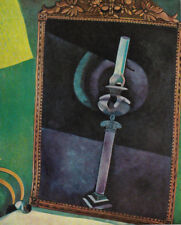 """MARC CHAGALL ART PRINT """"THE MIRROR"""" CRYSTAL CANDLE HOLDER REFLECTED IN MIRROR"""