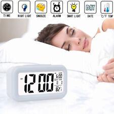 LED Display Digital Backlight Table Alarm Clock Snooze Thermometer Calendar Time
