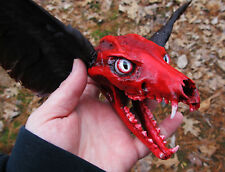 Bloody demon black winged fox skull taxidermy haunted house goth vampire