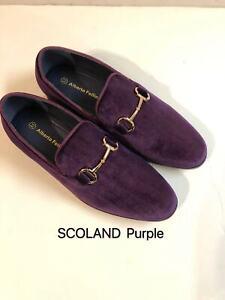 New Men's Vintage Velvet Dress Loafers Slip On Tuxedo Dress Shoes Size:7.5--13